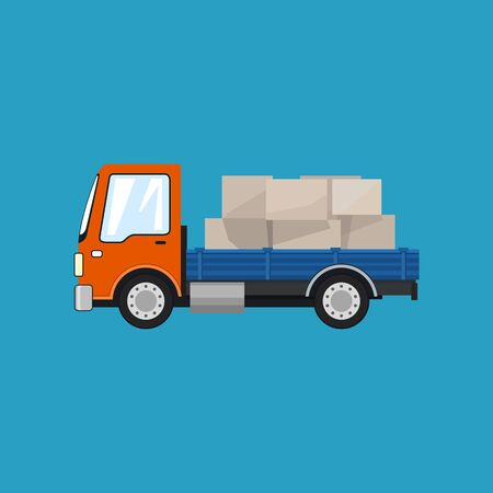 Small Cargo Truck, Lorry with Boxes on a Blue Background, Delivery Services, Logistics, Shipping and Freight of Goods, Vector Illustration