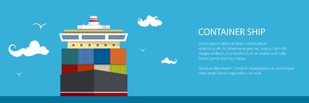 Fracht Containerschiff Banner Design. Standard-Bild - 91605059