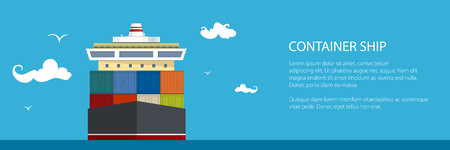 Cargo container ship banner design. Illustration