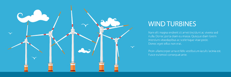 Banner with Horizontal Axis Wind Turbines in the Sea , Offshore Wind Farm off the Coast, Vector Illustration