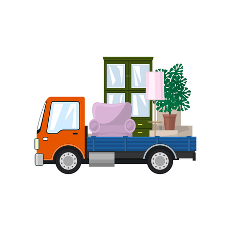 Freight Car is Transporting Furniture, Isolated on a White Background, Transportation and Cargo Delivery Services, Logistics, Vector Illustration Stock Illustratie