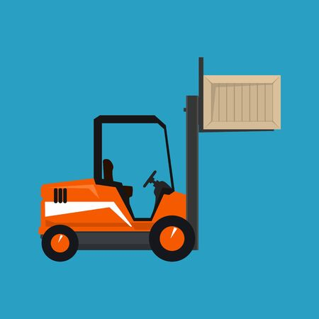 Forklift Truck Isolated on a Blue Background, Orange Vehicle Forklift Lifted the Box Up, Vector Illustration