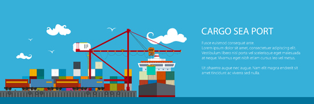 Horizontal Banner of Shipyard, Cranes Load Containers on the Container Ship and Train at the Seaport, Sea Freight Transportation, Poster Brochure Flyer Design, Vector Illustration Vectores
