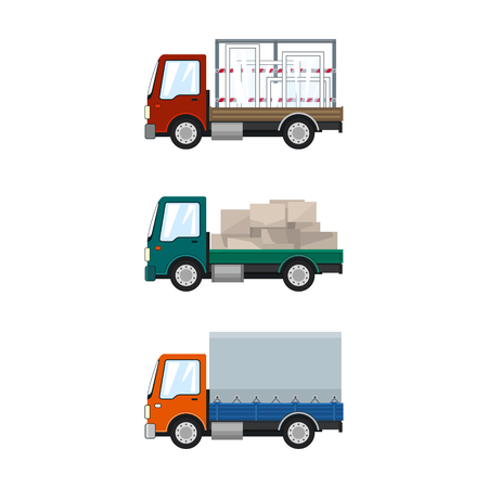 Set of Small Cargo Trucks, Car Transports Glass, Lorry with Boxes, Orange Closed Truck, Delivery Services, Logistics, Shipping and Freight of Goods, Vector Illustration