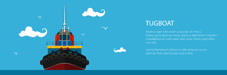 Banner with Tugboat, Pushboats for Towage and Mooring of Other Courts and Text , Poster Brochure Flyer Design, Vector Illustration Illustration