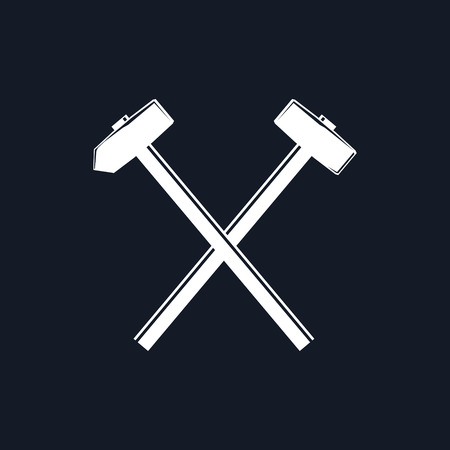 Silhouette of a Crossed Hammer and Sledgehammer on a Black Background, Hand Industrial Tool , Vector Illustration Çizim