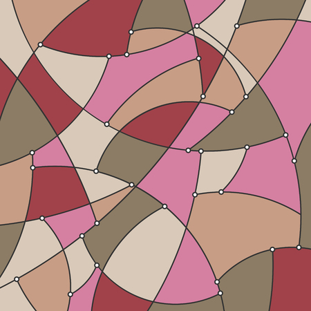 Abstract Colorful Geometric Background of the Curves and Nodes, Stained Glass Pattern in Shades of Pink Beige and Green, Vector Illustration