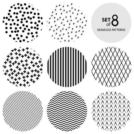 Set of Eight Round Geometric Monochrome Seamless Patterns, Plus Sign and Strip, Rhombus and Polka Dots, Wave and Herringbone, Stars, Black and White Vector Illustration 版權商用圖片 - 95392178