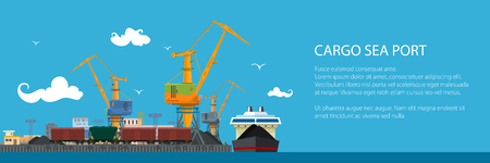Unloading Coal or Ore from the Dry Cargo Ship, Banner with Sea Freight Transportation, Cargo Transport, Port Warehouses and Cranes and Train, Vector Illustration