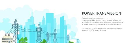 Banner blanco con líneas de alta tensión suministra electricidad a la ciudad, transmisión de energía eléctrica en el fondo de la ciudad, ilustración vectorial