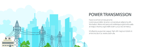 White Banner with High Voltage Power Lines Supplies Electricity to the City , Electric Power Transmission on on the Background of the City, Vector Illustration Vettoriali