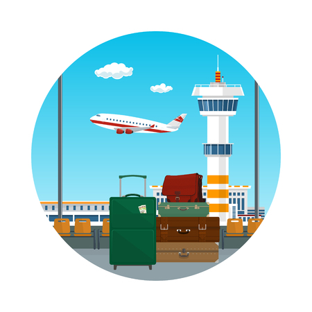 Icon of Travelers Luggage at the Airport, View through the Window at the Runway with Airplanes and Control Tower, Travel and Tourism Concept, Vector Illustration