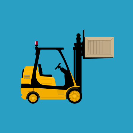 Forklift Truck Isolated on a Blue Background, Yellow Vehicle Forklift Lifted the Box Up, Vector Illustration