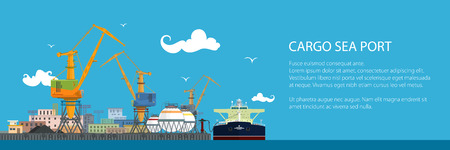 Banner with Unloading Oil or Liquids from the Tanker Ship, Sea Freight Transportation, Cargo Transport, Port Warehouses and Cranes, Vector Illustration