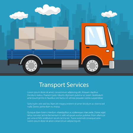 Flyer Delivery Services, Small Cargo Truck with Boxes on the Road, Logistics, Shipping and Freight of Goods, Poster Brochure Design, Vector Illustration