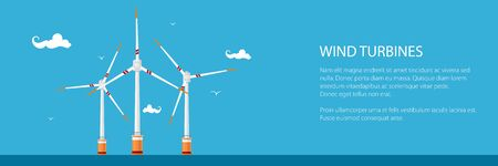 Banner with Offshore Wind Farm ,Horizontal Axis Wind Turbines in the Sea off the Coast, Vector Illustration Stock Illustratie