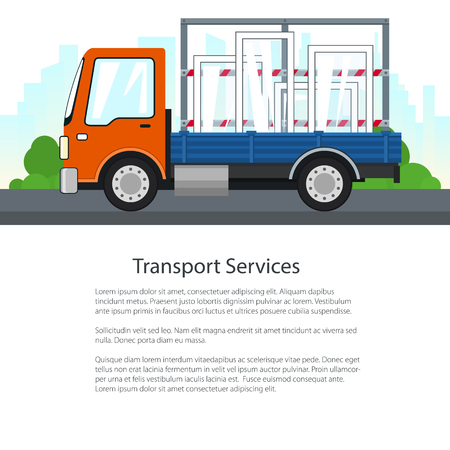 Lorry Transports Windows on a Background of the City, Poster with Small Truck , Cargo Delivery Services, Logistics, Shipping and Freight of Goods, Flyer Brochure Design, Vector Illustration.
