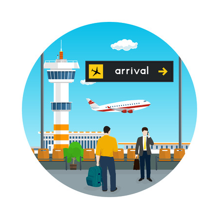 View of a flying airplane through the window from a waiting room at the airport. Scoreboard arrivals at airport, air travel concept vector illustration. Vettoriali