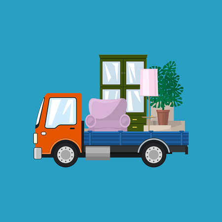 Freight Car is Transporting Furniture, Isolated on a Blue Background, Transportation and Cargo Delivery Services, Logistics, Vector Illustration