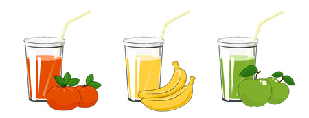 Set of Fresh Fruit Juices, Green Apple with Mandarin and Banana , Glass with Juice and a Straw Isolated on a White Background