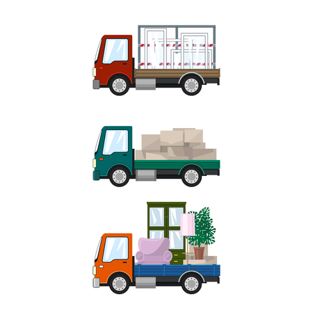 Set of Small Cargo Trucks, Van with Windows, Green Mini Lorry with Boxes, Orange Truck with Furniture, Transport and Delivery Services, Logistics, Vector Illustration