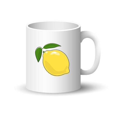 Cup Isolated on a White Background, Front View on a Mug with Citrus Fruit Lemon, Vector Illustration