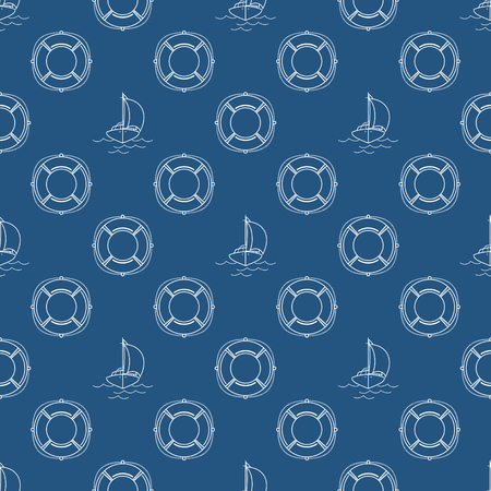 Travel seamless pattern with yacht and lifebuoy, maritime tourism concept, line style design, vector illustration.
