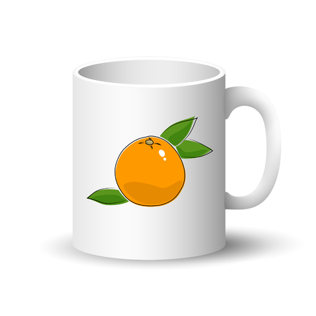 Cup of isolated on a white background, front view on a mug with citrus fruit grapefruit, vector illustration. Illustration