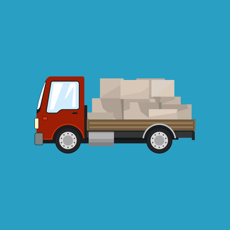 Red Small Cargo Truck with Boxes Isolated on a Blue Background, Delivery Services, Logistics, Shipping and Freight of Goods, Vector Illustration Illustration