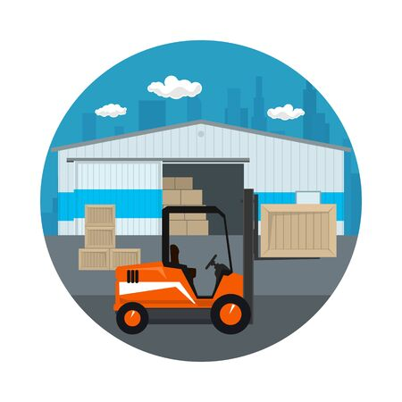 Icon Warehouse and Transport Services ,Forklift Truck Unloading or Loading Boxes on the Background of the City , Vector Illustration Illustration
