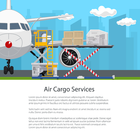 Transport- en luchtvrachtservices, vliegtuig met autoloader op de achtergrond van de stad, lossen of laden van goederen op de luchthaven, poster flyer brochureontwerp, vectorillustratie Vector Illustratie