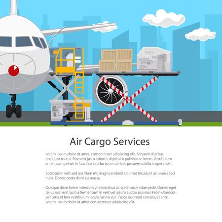 Transport- und Luftfrachtdienste, Flugzeug mit Autoloader auf dem Hintergrund der Stadt, Entladen oder Laden von Waren am Flughafen, Plakat-Flieger-Broschüren-Design, Vektor-Illustration Vektorgrafik