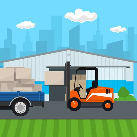 Warehouse on the Background of the City , Forklift Truck and Lorry with Boxes , Transportation and Cargo Services and Storage, Vector Illustration