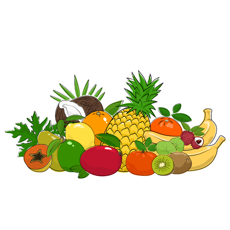 Set of Fresh Summer Tropical Fruits Isolated on White Background , Healthy Food and Natural Organic Concept, Vector Illustration
