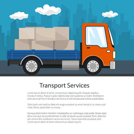 Brochure Delivery Services, Small Cargo Truck with Boxes on the Road, Logistics, Shipping and Freight of Goods, Poster Flyer Design, Vector Illustration 矢量图像