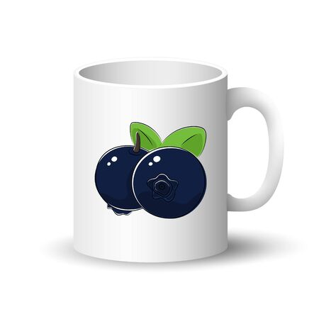 Cup Isolated on a White Background, Front View on a Mug with Berry Fruit Black Blueberries , Vector Illustration Illustration