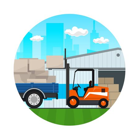 Icon of Warehouse on the Background of the City , Forklift Truck and Lorry with Boxes , Transportation and Cargo Services and Storage, Vector Illustration