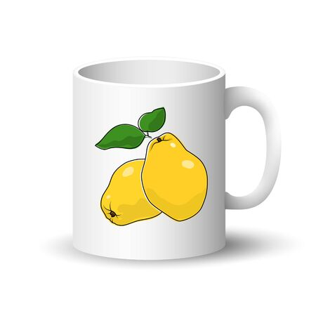 Cup Isolated on a White Background, Front View on a Mug with Fresh Fruit Yellow Quince , Vector Illustration