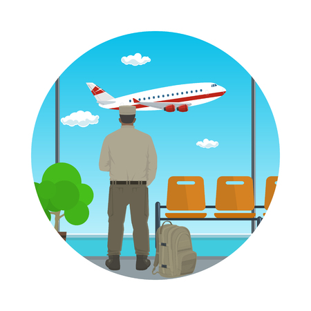 Man in Uniform Looking out the Window on a Flying Airplane in a Waiting Room, Flat Design, Vector Illustration Ilustração