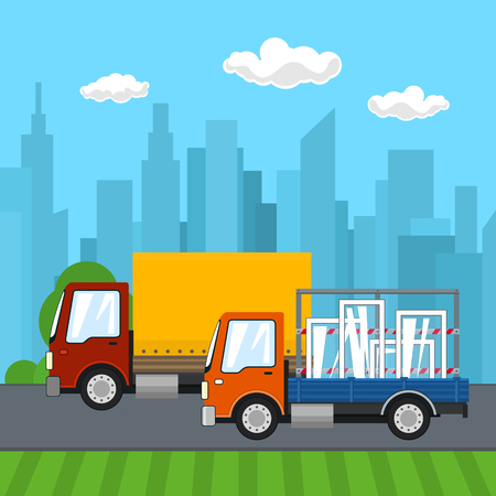 Road Transport and Logistics, Small Covered Truck and Cargo Van with Windows Drive on the Road on the Background of the City Illustration