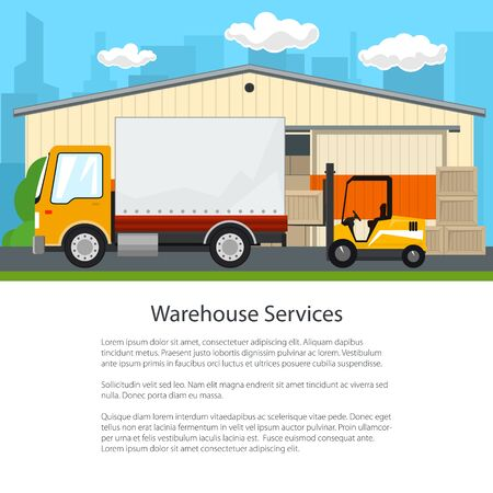 Warehouse and Transport Services ,Warehouse with Forklift Truck and Small Covered Truck on the Background of the City, Unloading or Loading of Goods, Poster Flyer Brochure Design, Vector Illustration