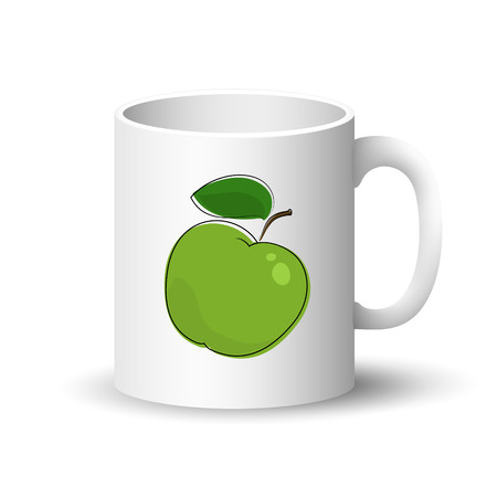 Cup Isolated on a White Background, Front View on a Mug with Fresh Fruit Green Apple , Vector Illustration