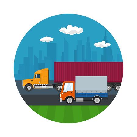 Icon of Road Transport and Logistics Illustration