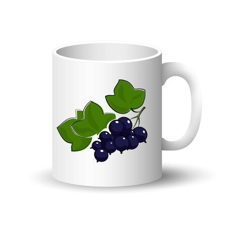 Cup Isolated on a White Background, Front View on a Mug with Berry Fruit Blackcurrant, Vector Illustration