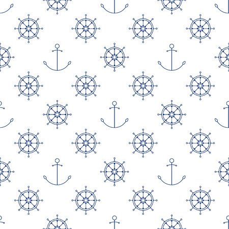 Seamless Travel Pattern, Blue Ships Wheel and Anchor on a White Background, Maritime Tourism Concept , Line Style Design, Vector Illustration