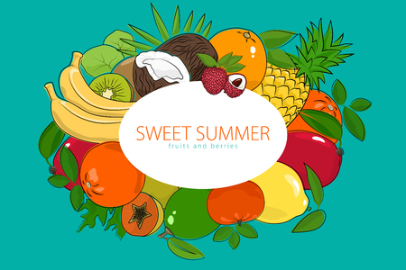 Summer Tropical and Citrus Fruits, Healthy Food and Natural Organic Concept, Vector Illustration