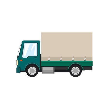 Green Small Covered Truck Isolated on White Background , Transport Delivery Services and Logistics, Shipping and Freight of Goods, Vector Illustration Иллюстрация
