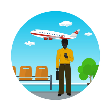 Waiting Room at the Airport Icon, African American Businessman with a Briefcase on the Background of a Window with a Flying Airplane, Air Business Tourism , Vector Illustration
