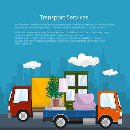 Poster of Road Transport and Logistics, Small Covered Truck and Lorry with Furniture go on the Road, Shipping and Freight of Goods, Flyer Brochure Design, Vector Illustration
