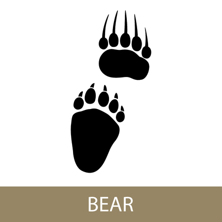 Track of Forest Animal, Trace of a Predatory Animal Bear vector Illustration. Vettoriali